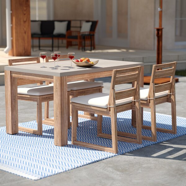 Sarsden 5 Piece Dining Set with Cushions by Rosecliff Heights