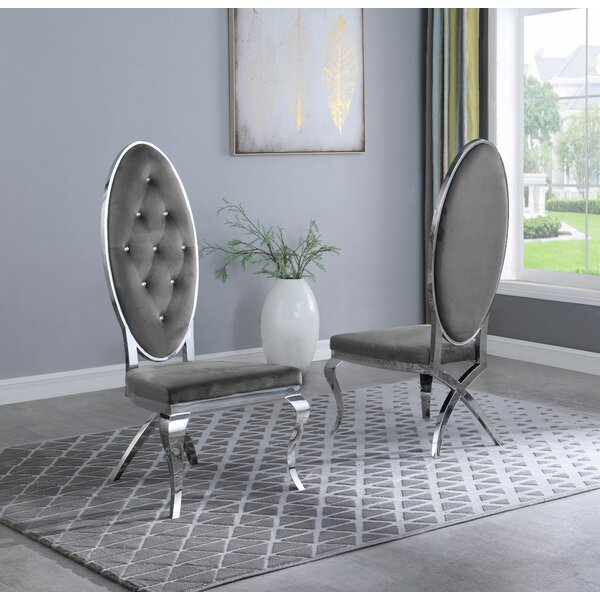 Edgardo Tufted Upholstered Metal Side Chair (Set of 2) by Rosdorf Park Rosdorf Park