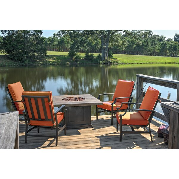 5 Piece Dining Set with Cushions and Gas Fire Pit by Northlight Seasonal