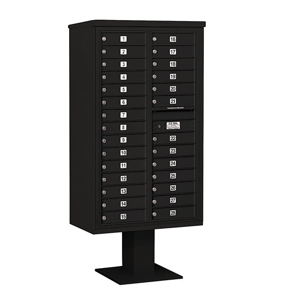 Pedestal Mounted 28 Units 29 Door Front Load 4C Horizontal Cluster Box Unit by Salsbury Industries