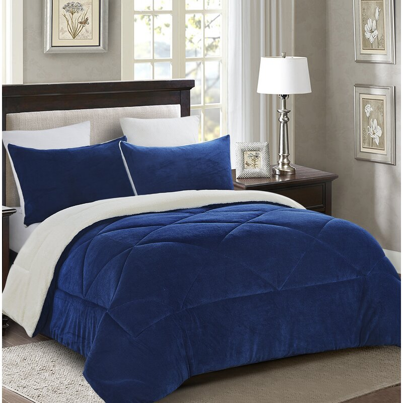 Winston Porter Swinson Fleece Sherpa Down Alternative Reversible Comforter Set & Reviews | Wayfair