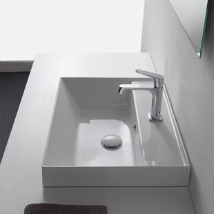 Affordable Teorema Ceramic Rectangular Vessel Bathroom Sink with Overflow By Scarabeo by Nameeks