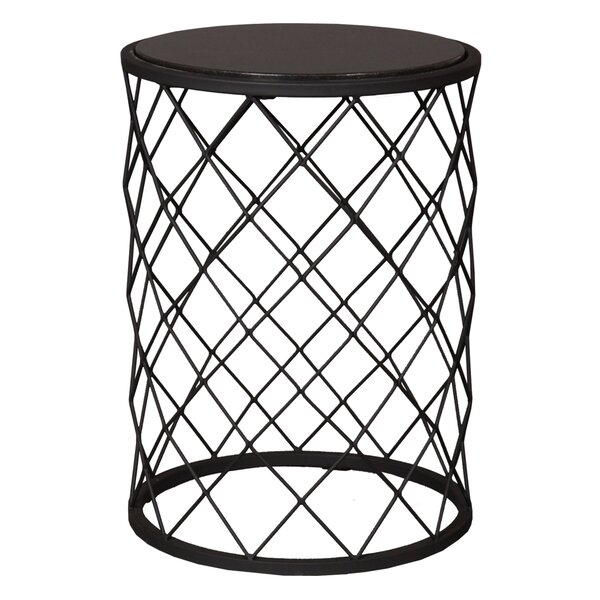 Net Metal Granite Accent Stool by Emissary Home and Garden