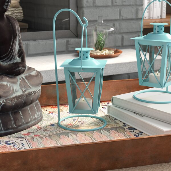 Iron and Glass Lantern (Set of 2) by Bungalow Rose