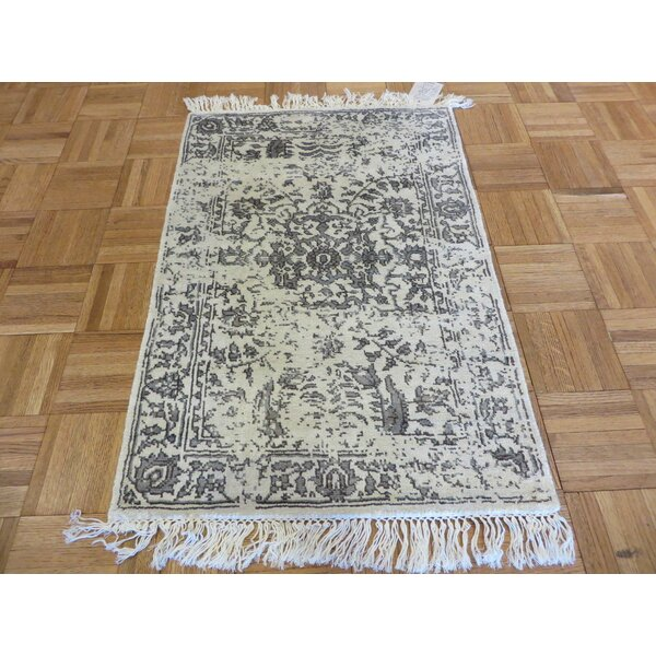 One-of-a-Kind Holz Hand-Knotted Wool Ivory Area Rug by Alcott Hill