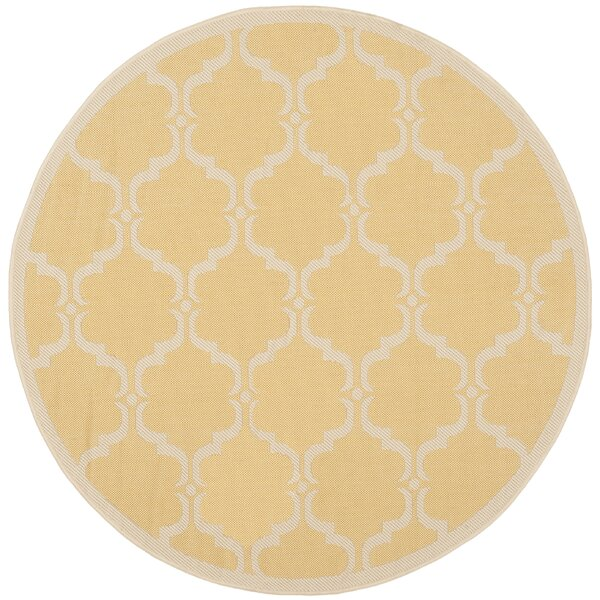 Short Yellow/Beige Geometric Contemporary Rug by Winston Porter
