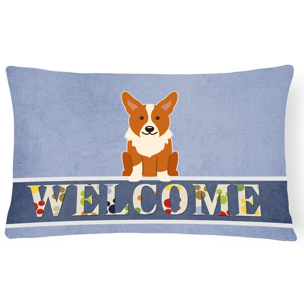 Richford Corgi Welcome Lumbar Pillow by Red Barrel Studio