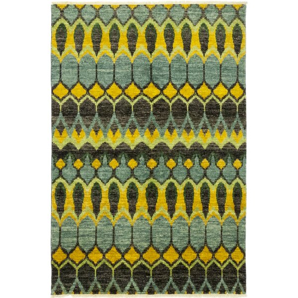 One-of-a-Kind Cydnee Hand-Knotted Wool Green Indoor Area Rug by Isabelline