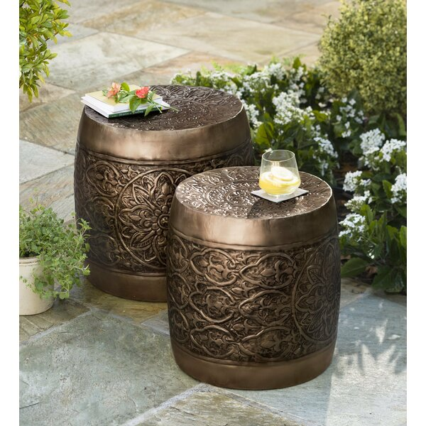 Nesting Embossed Barrel Metal 2 Piece Side Table Set by Plow & Hearth
