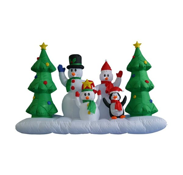 8 ft Inflatable Snowman Family by Three Posts