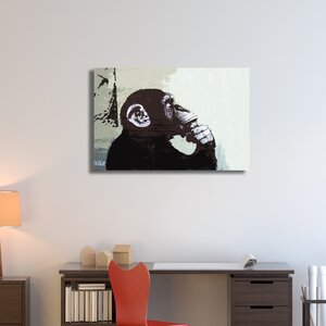 Monkey Thinker by Banksy Painting Print on Wrapped Canvas by Pingo World
