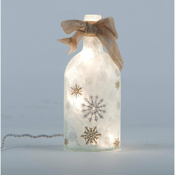 Frosted Snowflake Glass Mason Jar Light Lamp by Glitzhome