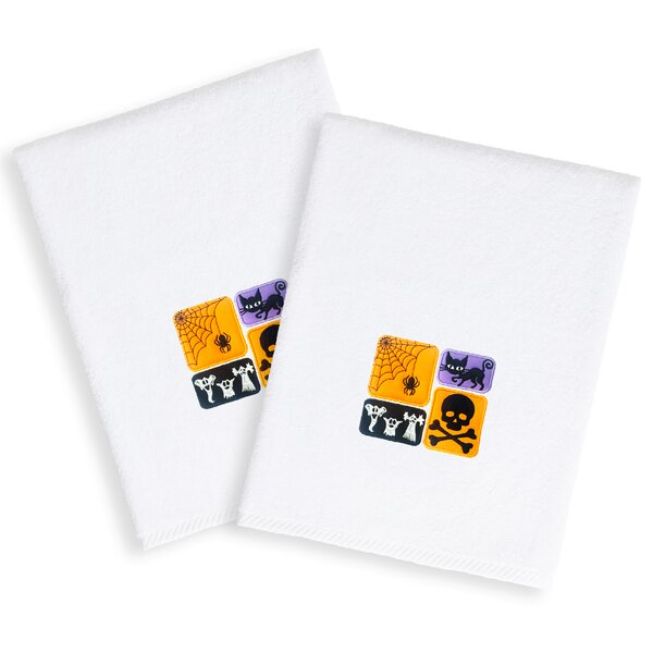 Spooky Embroidered Luxury Turkish Cotton Hand Towel (Set of 2) by The Holiday Aisle
