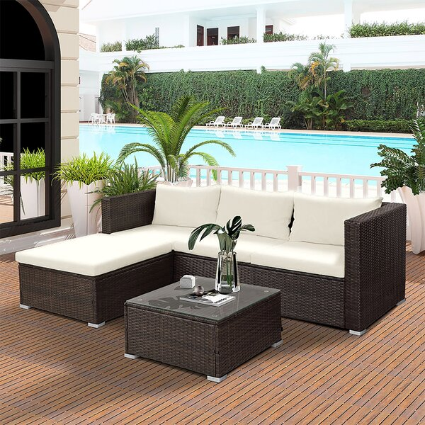 Vaishnavi 3 Piece Rattan Sectional Seating Group with Cushions by Latitude Run