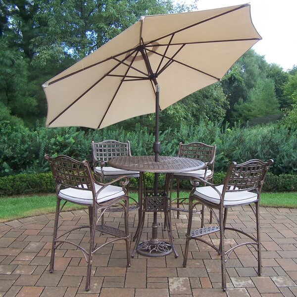 Thelma 5 Piece Bar Height Dining Set with Cushions and Umbrella by Astoria Grand