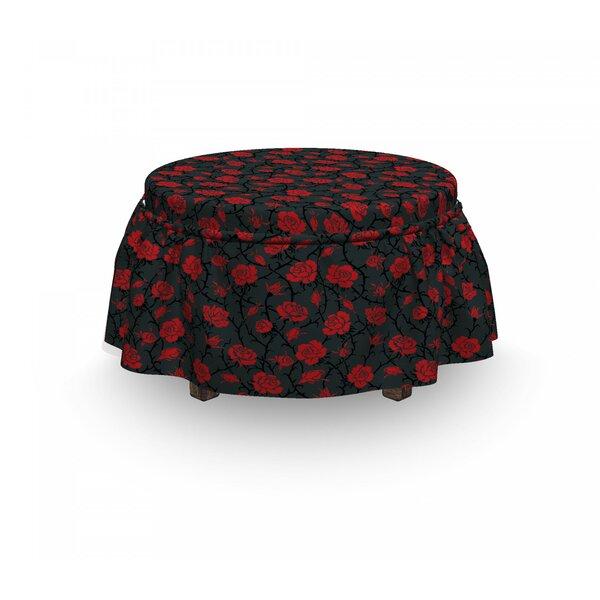 Romantic Vintage Rose 2 Piece Box Cushion Ottoman Slipcover Set By East Urban Home