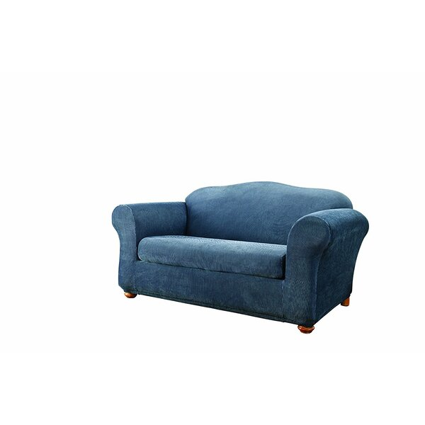 Stretch Stripe Box Cushion Loveseat Slipcover by Sure Fit