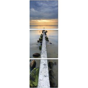Wood Mounted Pier in Vertical 3 Piece Photographic Print on Wrapped Canvas Set by 3 Panel Photo