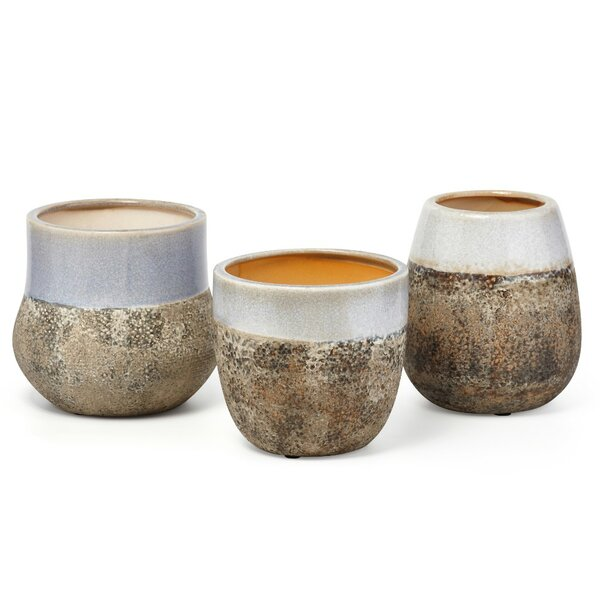 Round 3-Piece Ceramic Pot Planter Set with Distressed Bottom by Benzara