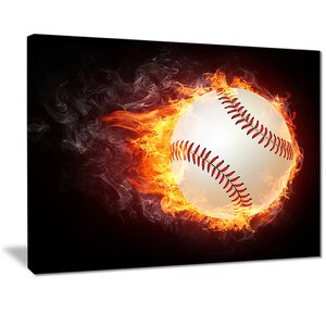'Baseball Ball' Graphic Art Print on Canvas by East Urban Home