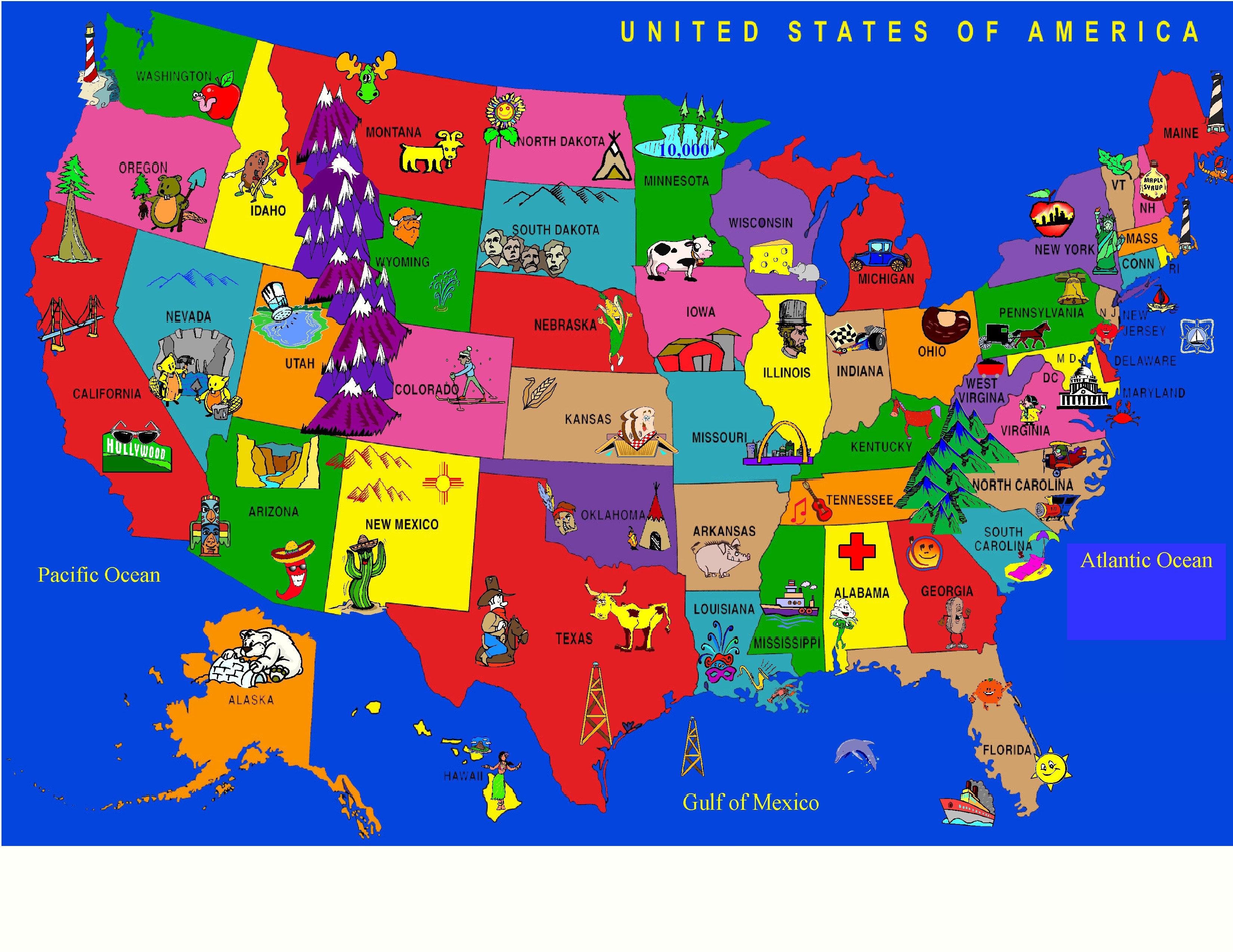 Kids World Fun Learning USA Cartoon Map Area Rug & Reviews | Wayfair
