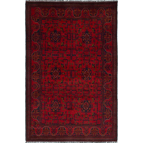 One-of-a-Kind Serefina Hand-Knotted Rectangle Red/Black Area Rug by Isabelline