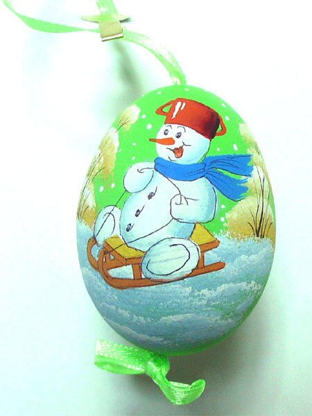 Snowman on Sled Decorated Egg by The Holiday Aisle