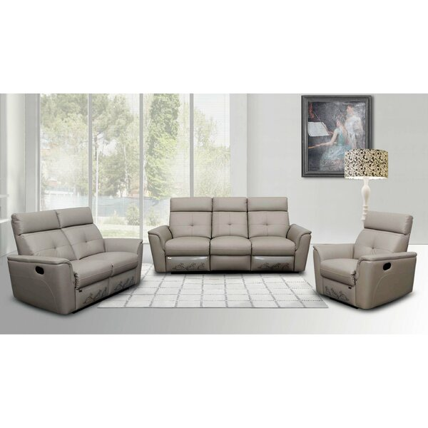 Fish Reclining Leather Configurable Living Room Set by Orren Ellis