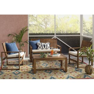 Black Diamond 4 Piece Sofa Set with Cushions By Beachcrest Home