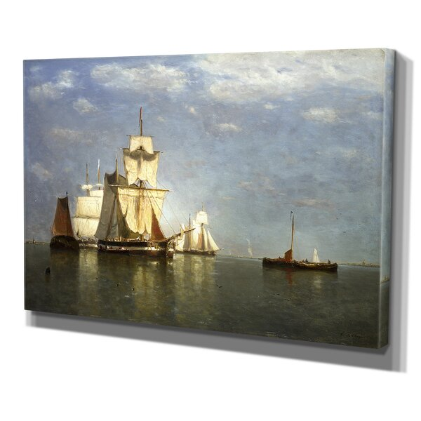 Ships Lying Off Flushing by Paul Jean Clays Premium Giclee Gallery Wrapped Canvas by Wexford Home