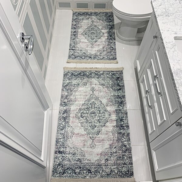 Morman Printed Design Vibrant and Soft Rectangle Cotton Blend Non-Slip piece Bath Rug Set