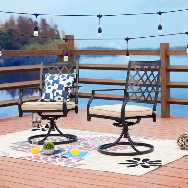 Pawlowski Swivel Patio Dining Chair with Cushions by Alcott Hill