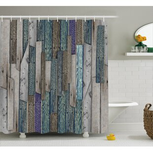 Livingston Blue Grey Planks Grunge Shower Curtain