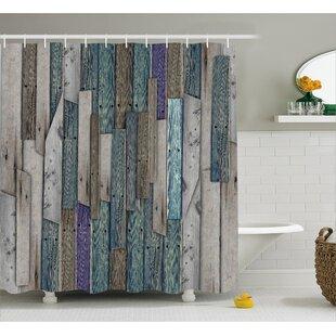Livingston Blue Grey Planks Grunge Shower Curtain ByUnion Rustic