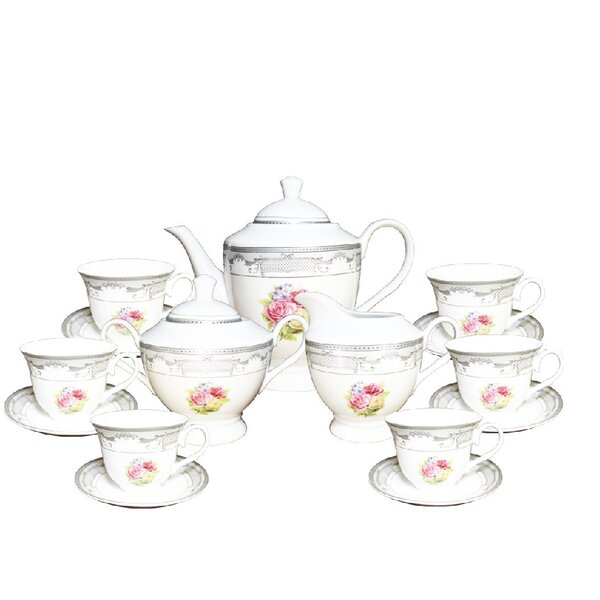 Fabien Floral Print 17 Piece Tea Set by August Grove