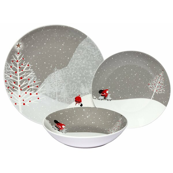 Santa Comes Home Porcelain Coupe 18 Piece Dinnerware Set, Service for 6 by The Holiday Aisle