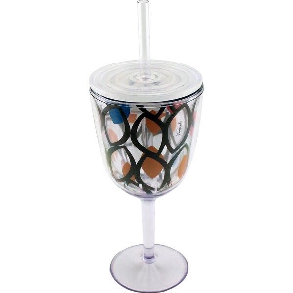 Paisley Glass Steemed Wine Glass by BergHOFF International