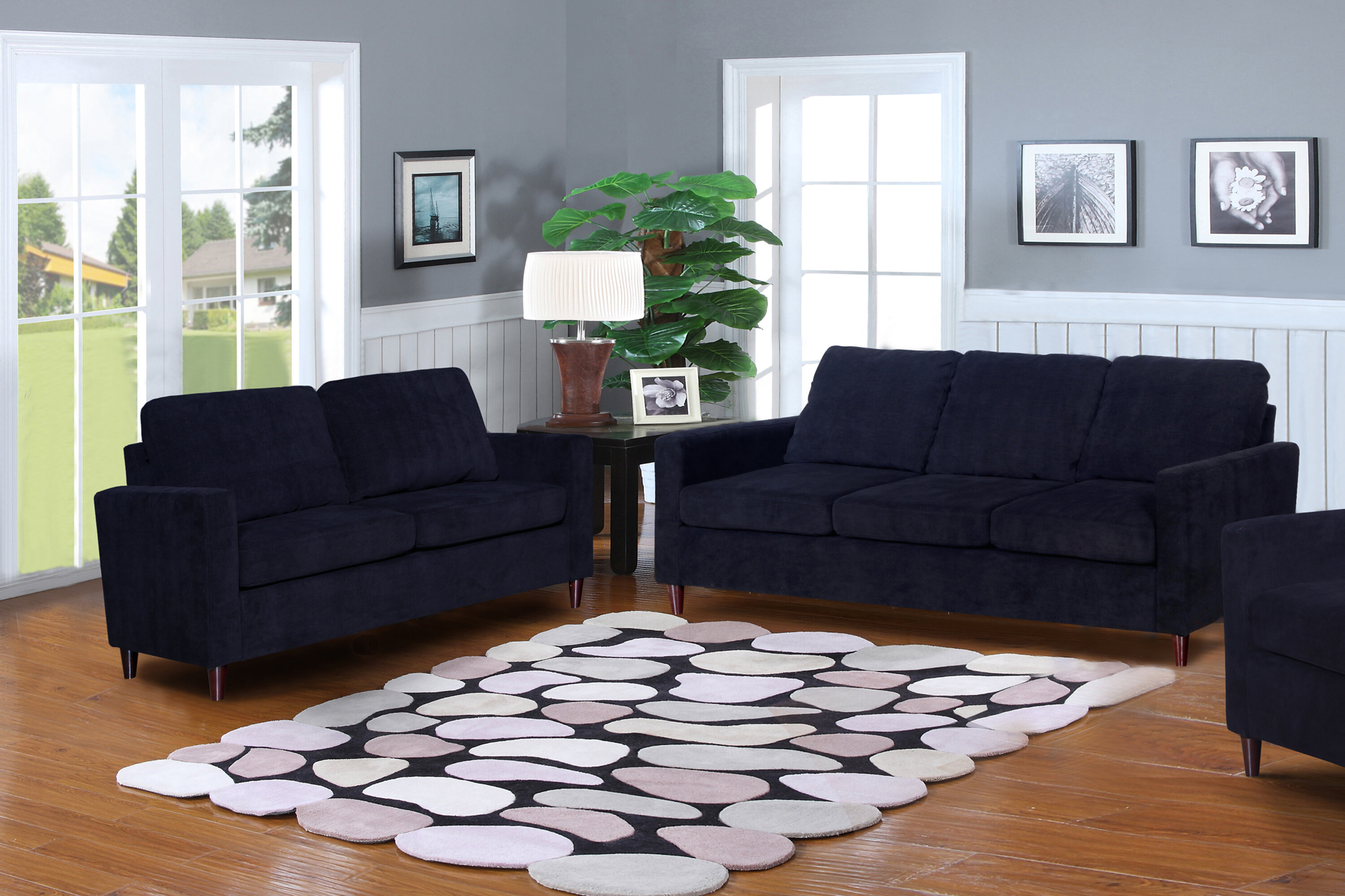 Wrought Studio Anglin Solid Raisin Fabric Modern 2 Piece Living Room