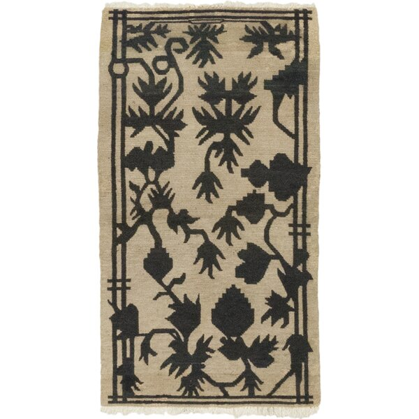 One-of-a-Kind Dewald Hand-Knotted Wool Beige/Black Indoor Area Rug by Isabelline