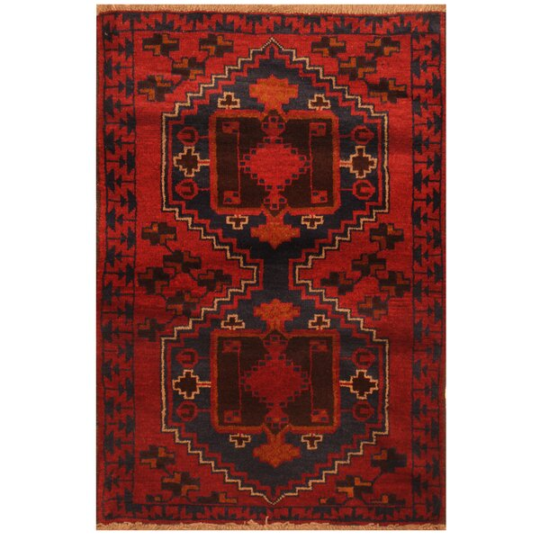 One-of-a-Kind Prentice Hand-Knotted Wool Red/Navy Area Rug by Isabelline
