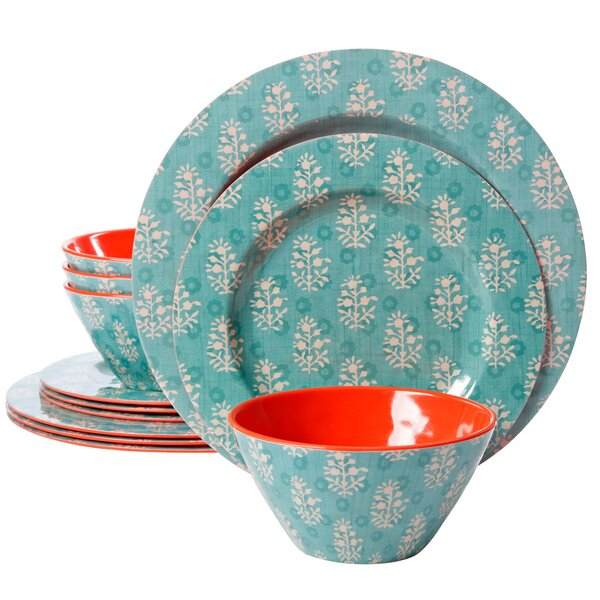 Evianna 12 Piece Melamine Dinnerware Set, Service for 4 by Bungalow Rose