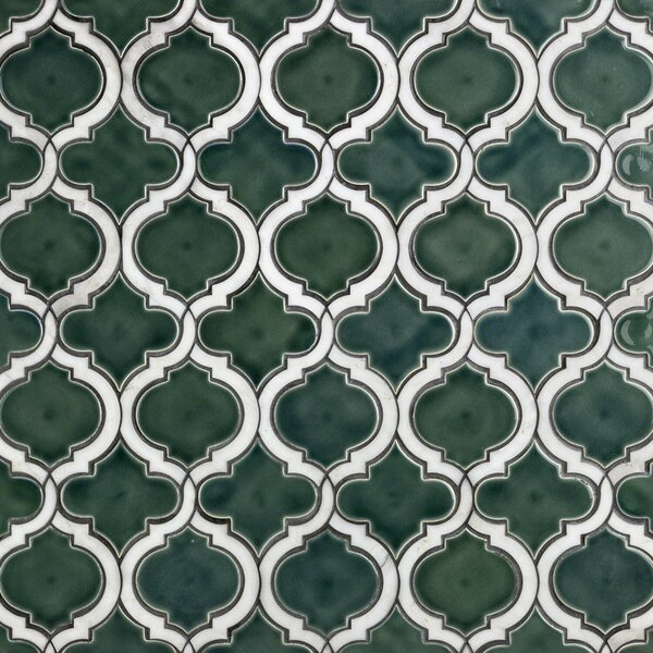 Oracle Random Sized Mixed Material Mosaic Tile in Deep Emerald by Splashback Tile
