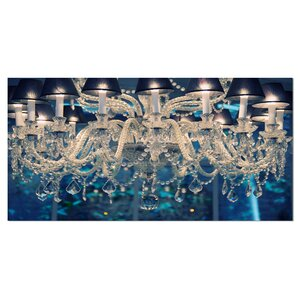 'Blue Vintage Crystal Chandelier' Photographic Print on Wrapped Canvas by Design Art
