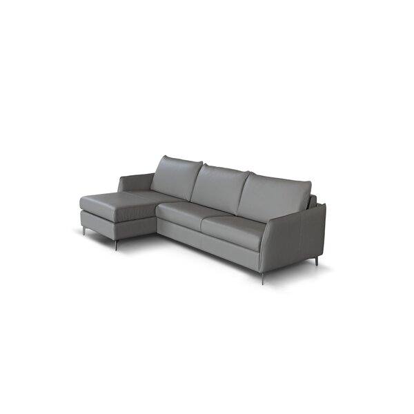 Review Benavidez Leather Reversible Sleeper Sectional