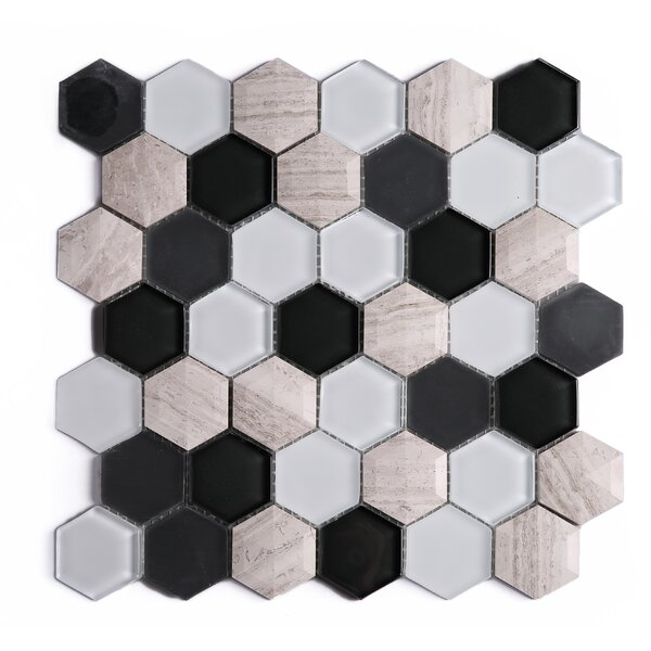 3D Hexagon 2 x 2 Marble Mosaic Tile in Black/Brown by Multile