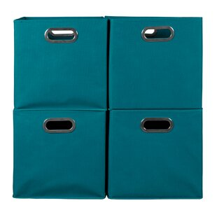 Coupon Foldable Fabric Storage Bin with Handle (Set of 4) By Rebrilliant