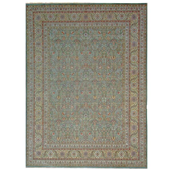 One-of-a-Kind Tabriz Hand-Knotted Wool Green Area Rug by Pasargad