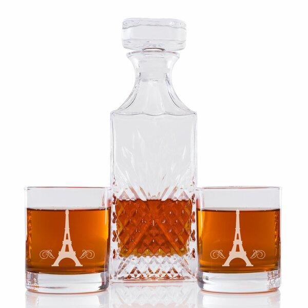 Sneller Eiffel Tower Vintage Cut 3 Piece Beverage Serving Set by Latitude Run