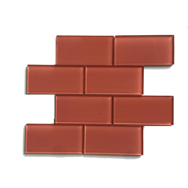 Premium Series 3 x 6 Glass Mosaic Tile in Glossy Rose by WS Tiles
