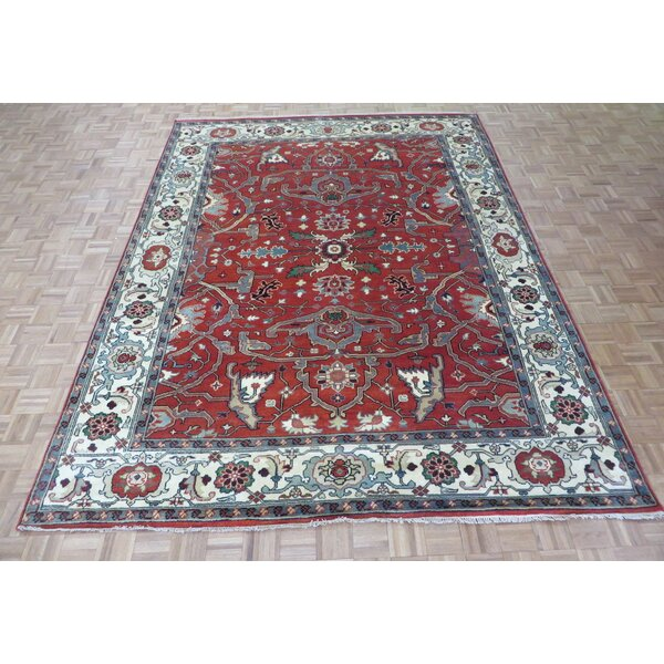 One-of-a-Kind Padro Serapi Heriz Hand-Knotted Wool Brick Red Area Rug by Bloomsbury Market